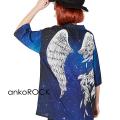 ankoROCK宇宙柄折れた翼開襟シャツ -スーパービッグ-