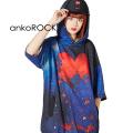 ankoROCK宇宙柄退廃ハート半袖プルオーバーパーカー -スーパービッグ-