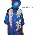 ankoROCK宇宙柄折れた翼半袖プルオーバーパーカー -スーパービッグ-