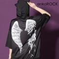 ankoROCK折れた翼半袖ネコ耳プルオーバーパーカー -スーパービッグ-