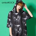 ankoROCKモノクローム黒猫半袖ネコ耳プルオーバーパーカー -スーパービッグ- SALE