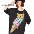 ankoROCKアイスクリームネコTシャツ -メガビッグ-