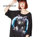 ankoROCKツインテール黒猫Tシャツ -メガビッグ-