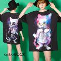 ankoROCK生身と骨ネコTシャツ -メガビッグ-