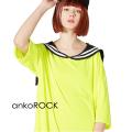 ankoROCKサイケデリックラインセーラーTシャツ -メガビッグ-