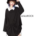 ankoROCKサイドコード変形ドレープシャツ襟カットソー -メガビッグ-