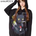 ankoROCKスモーキングダーティー黒猫プルオーバーパーカー -スーパービッグ-
