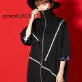 ankoROCKモノクロクレイジージップ半袖ボリュームネックジャージ -スーパービッグ-