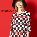 ankoROCKスプラッターチェックTシャツ -メガビッグ-
