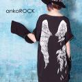 ankoROCK折れた翼オープンジップスリーブカットソー -メガビッグ-