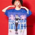 ankoROCK『シティポップ』お酒と女の子Tシャツ -メガビッグ-