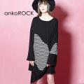 ankoROCK ディストラクション・・白黒ボーダーカットソー -メガビッグ-