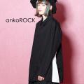 ankoROCK アシンメトリーサイドラインシャツ/黒白 -スーパービッグ-