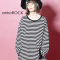 ankoROCK 白黒ボーダーカットソー -オーバーサイズ-