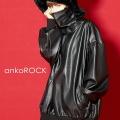 ankoROCK レザーボリュームネックカットソー -オーバーサイズ-