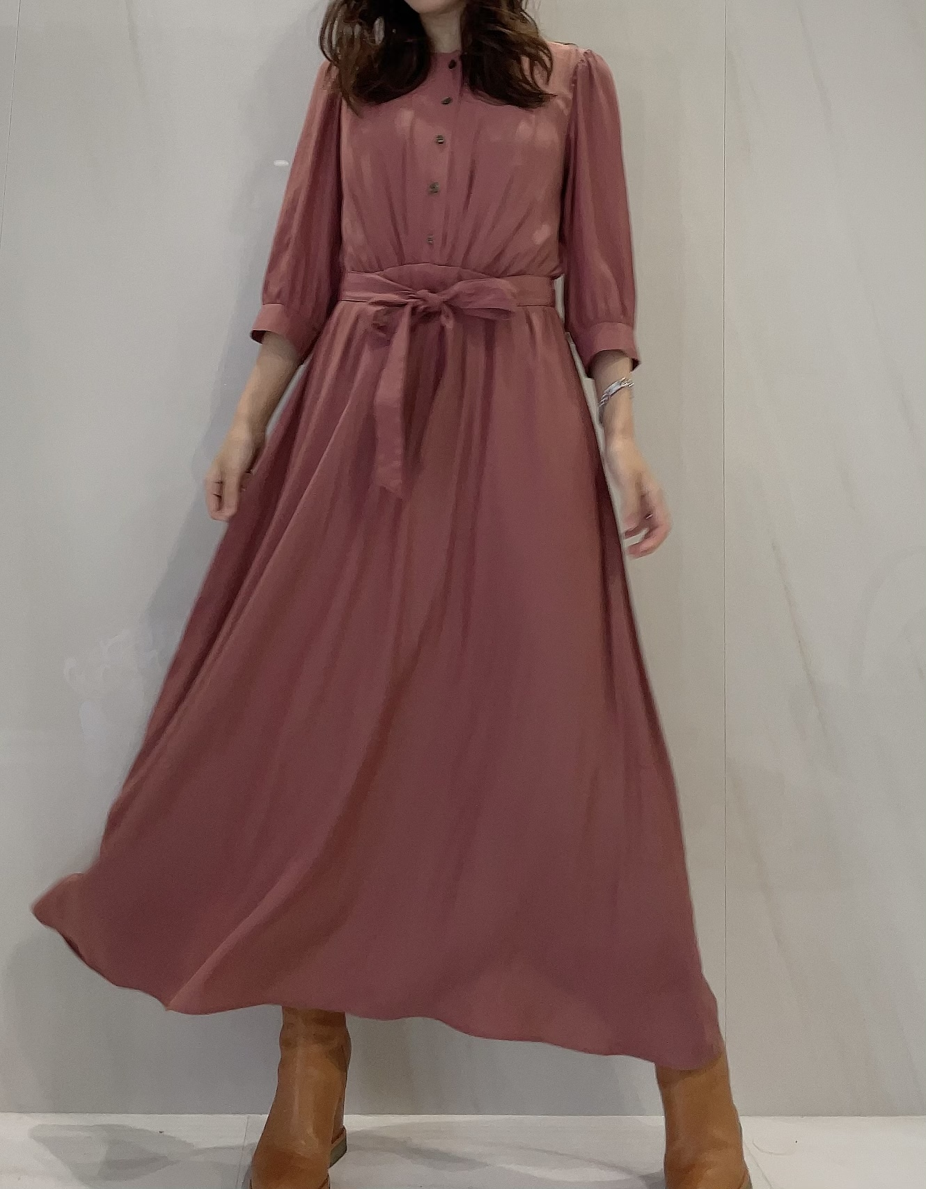 【selva secreta】FRONT BUTTON DRESS(pink-beige)
