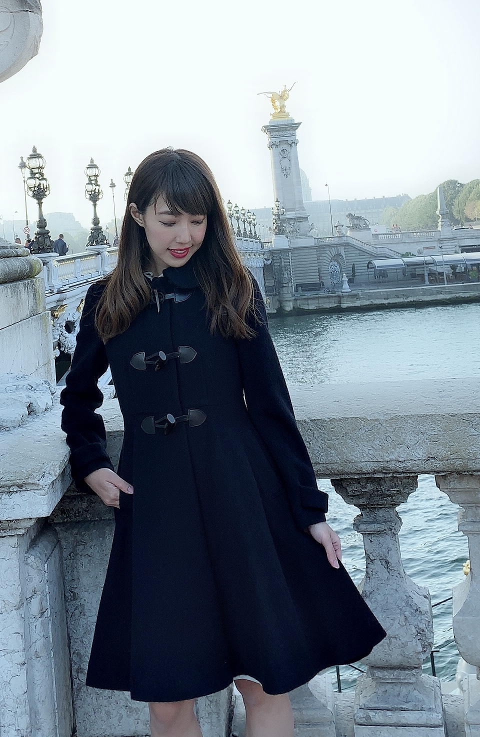 【selva secreta】DUFFLE FLARED  COAT(black)