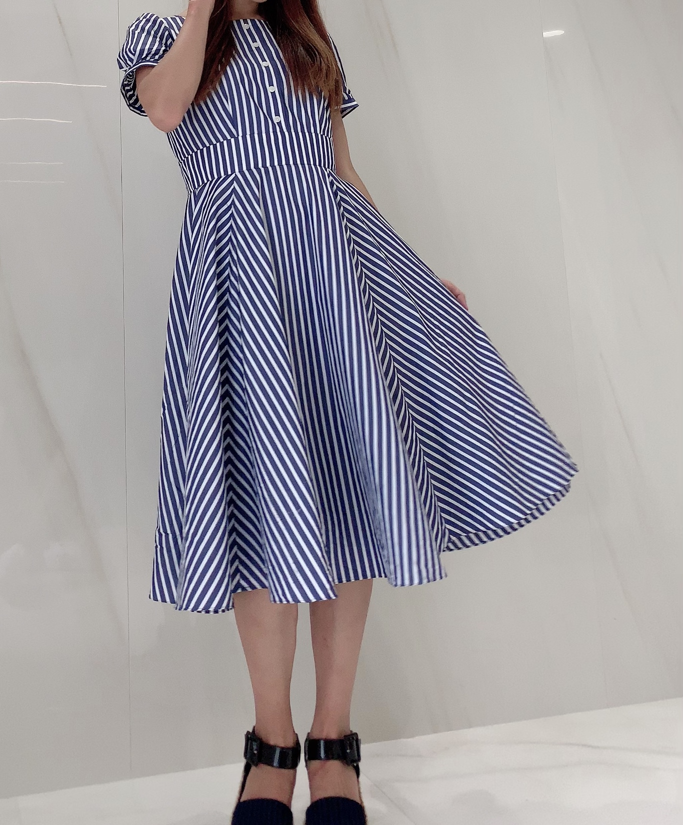 【selva secreta】Flare button DRESS(blue)