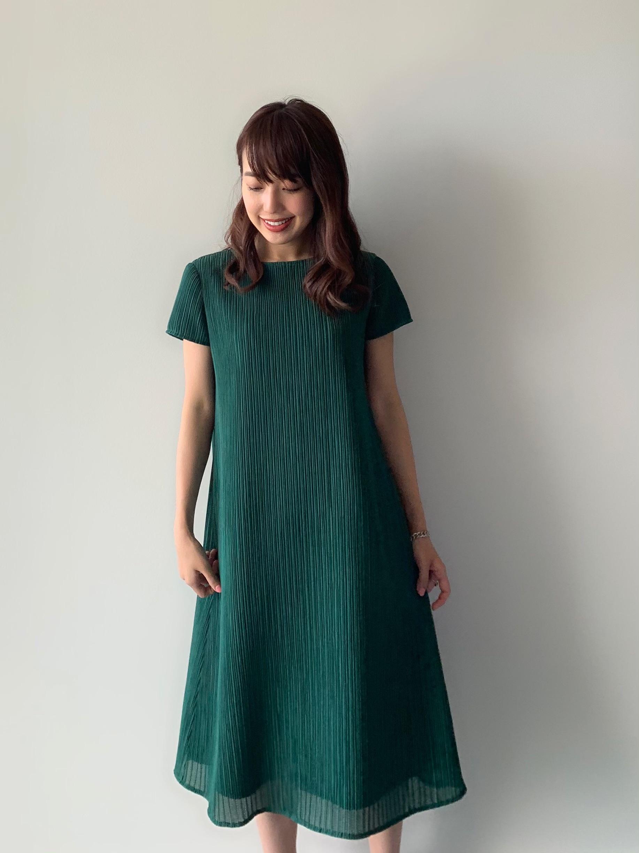 【selva secreta】A line DRESS(short-sleeve-green)