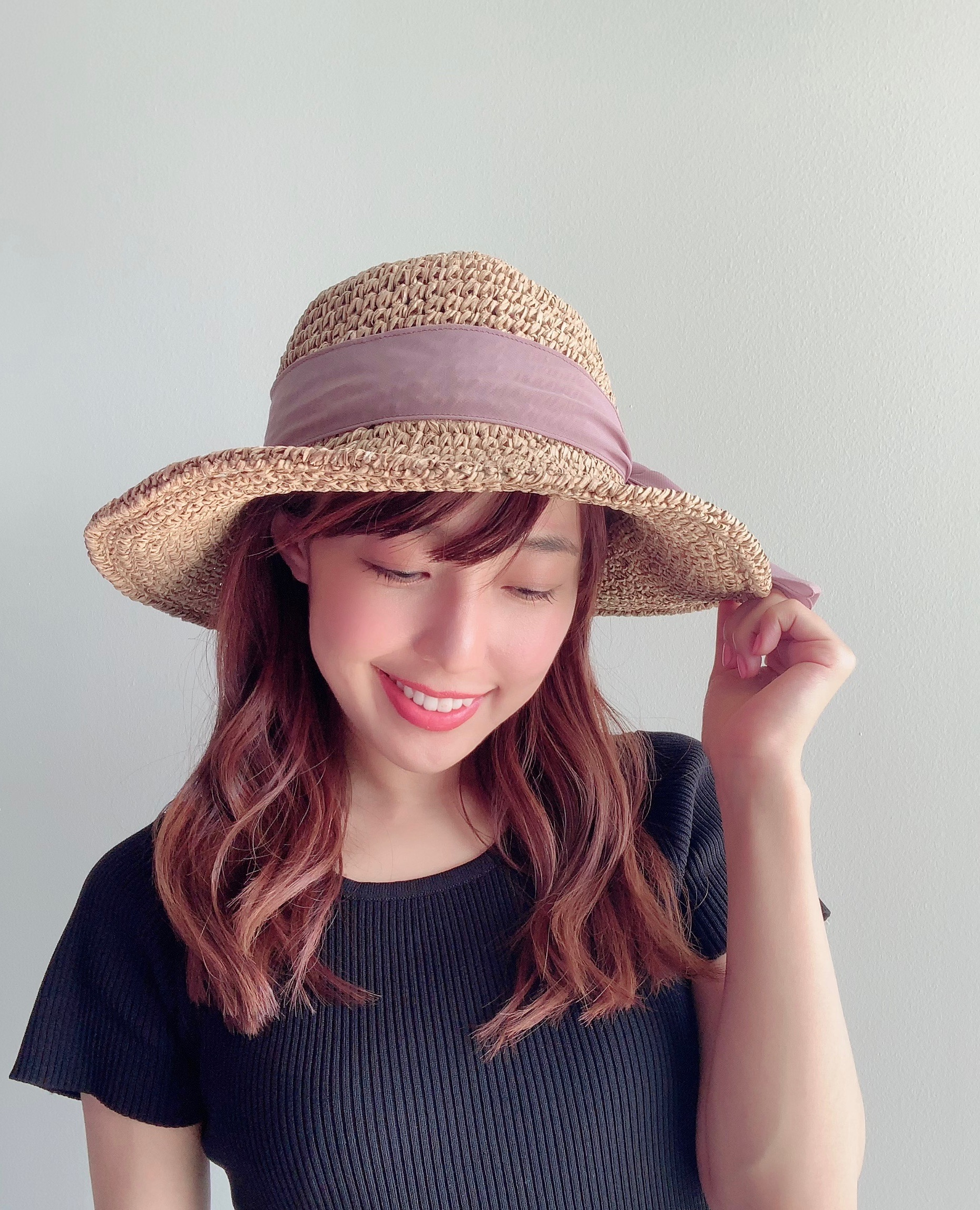 【selva secreta】RIBBON HAT(pink-beige×brown ribbon)
