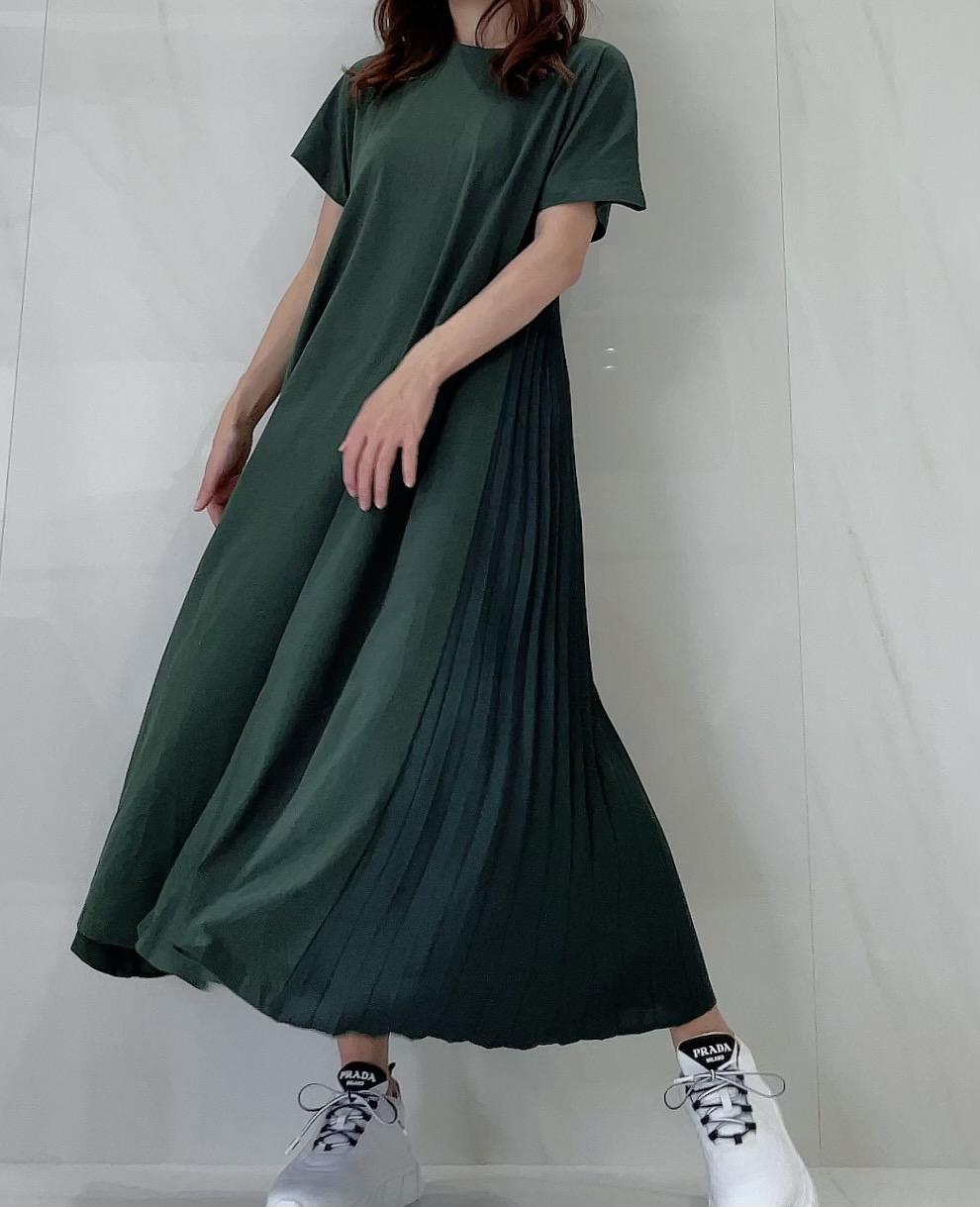 【selva secreta】Pleats Tshirt one-piece(green)
