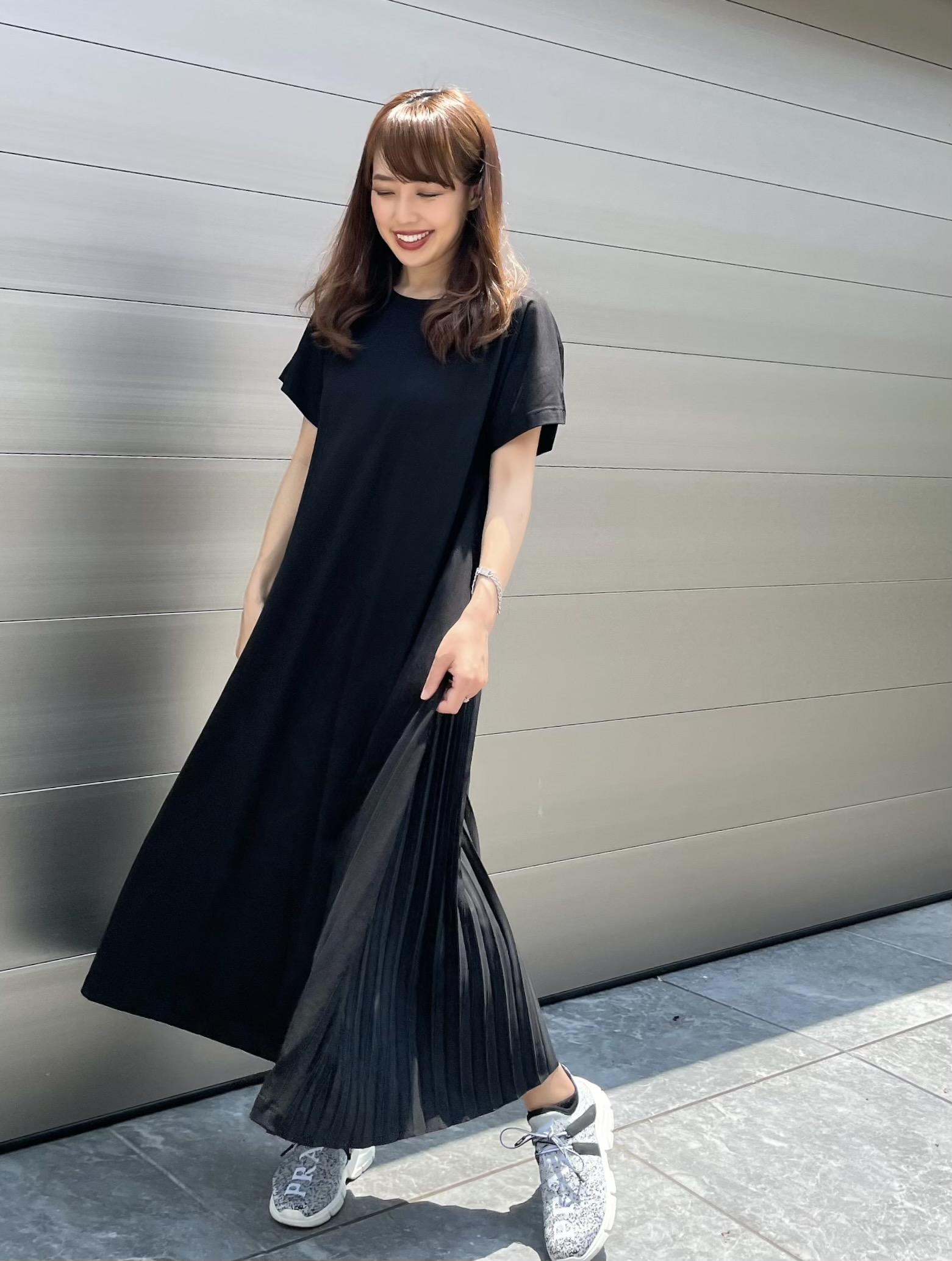【selva secreta】Pleats Tshirt one-piece(black)