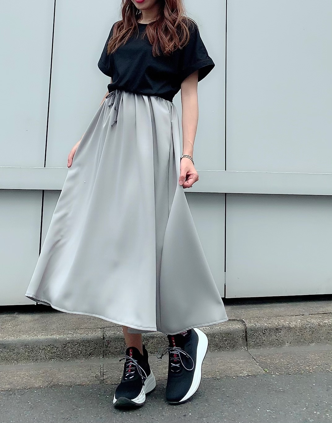 【selva secreta】CASUAL DRESS(black×gray)