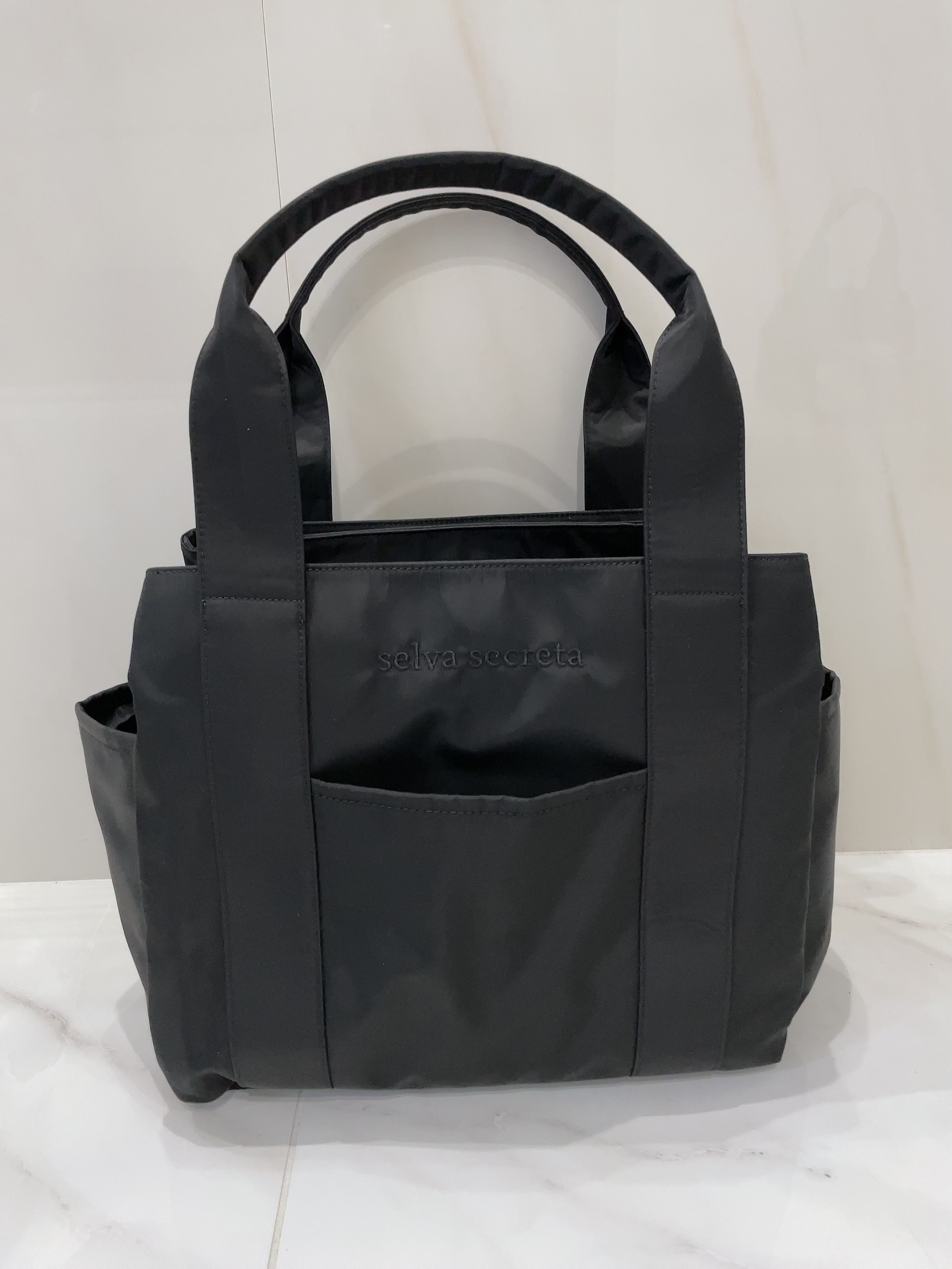 【selva secreta】3-layer TOTE BAG(black×black logo)(BIG-size)