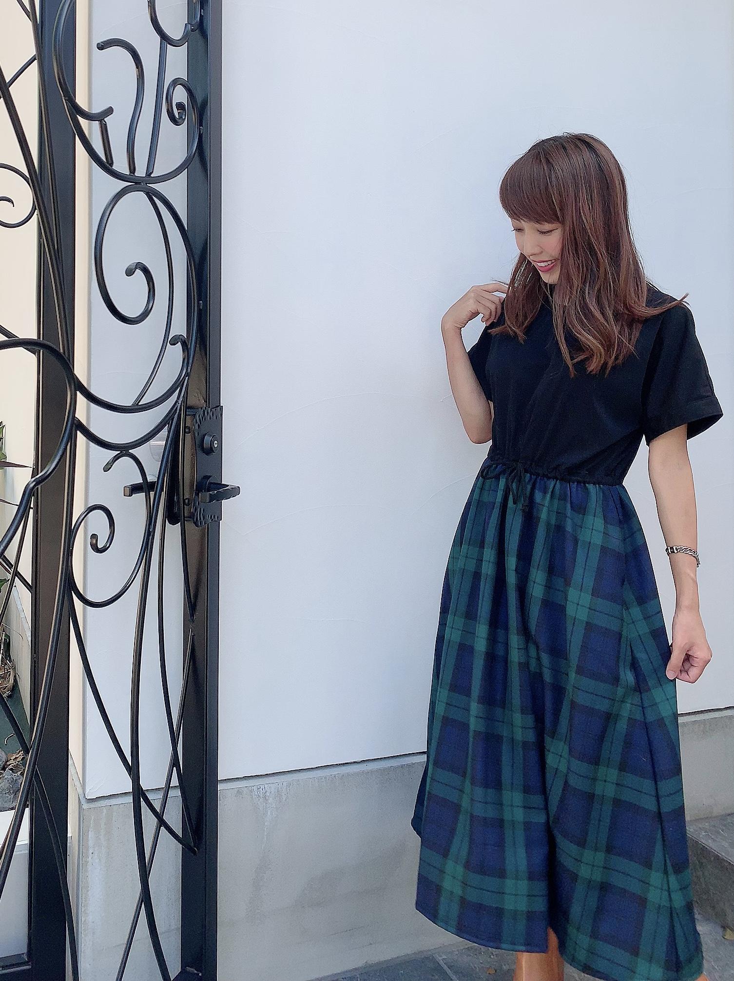 【selva secreta】CASUAL DRESS(black×check-green)