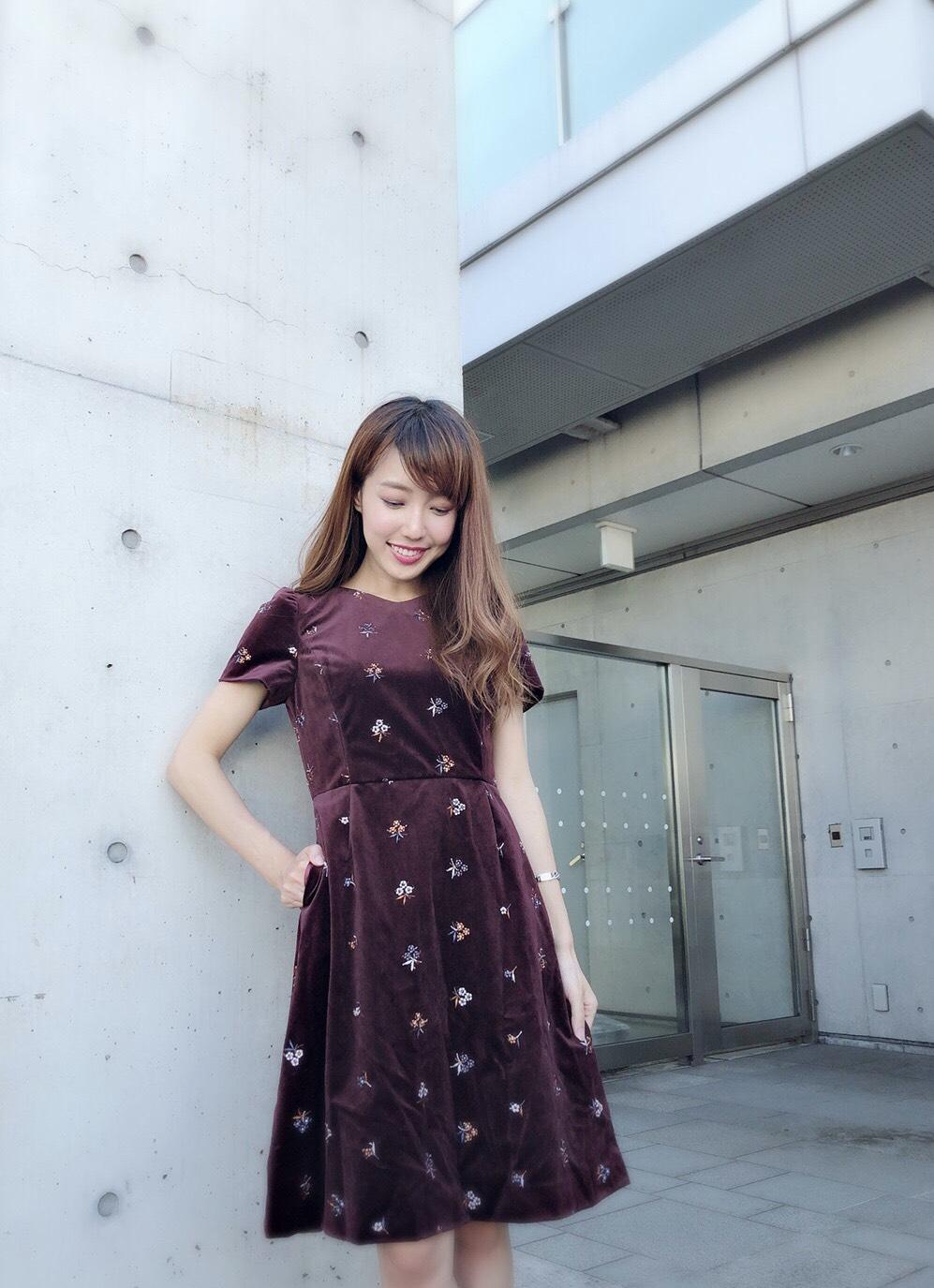 【selva secreta】Flower Velour DRESS(wine-red)