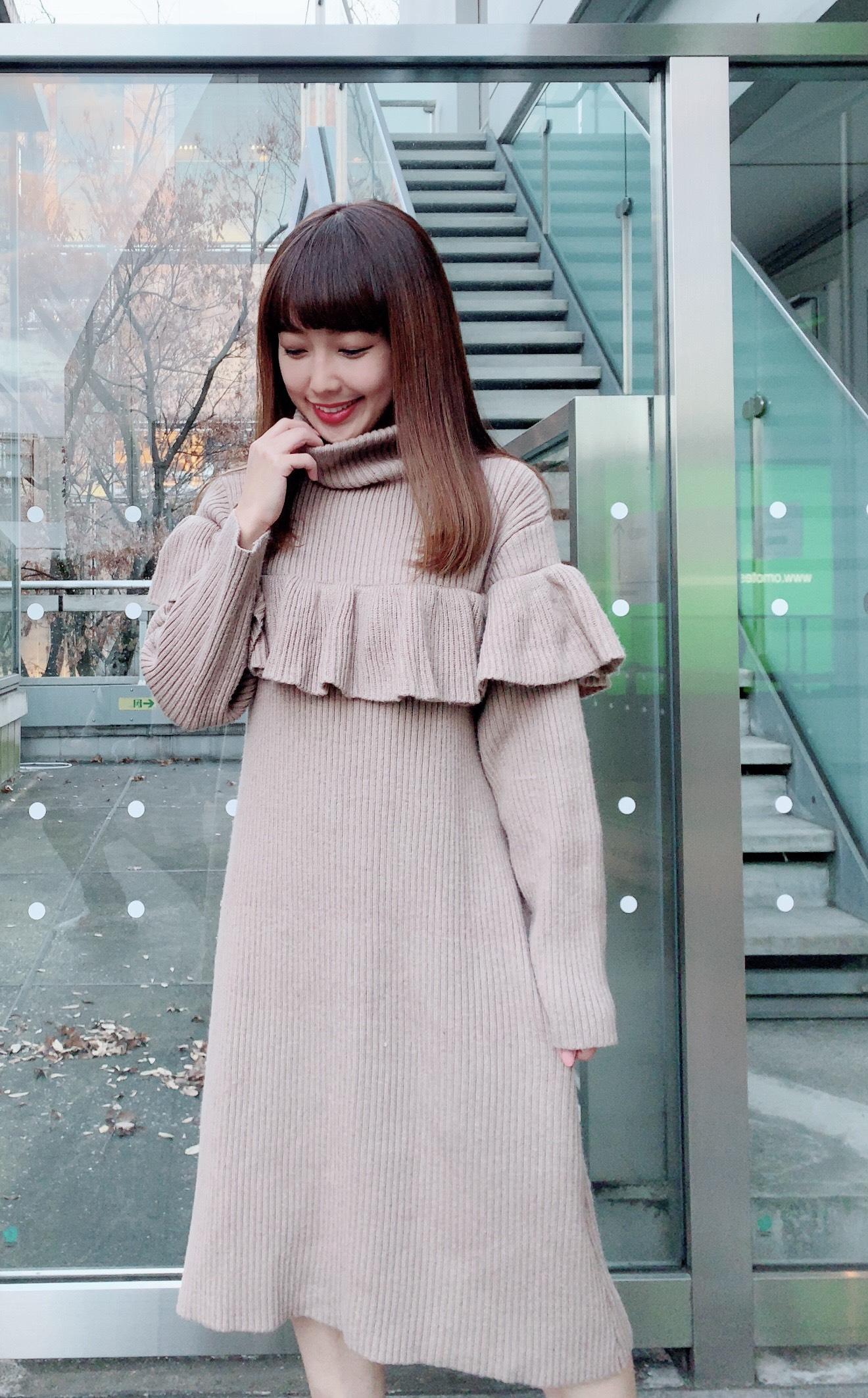 【selva secreta】FRILL KNIT DRESS(beige)