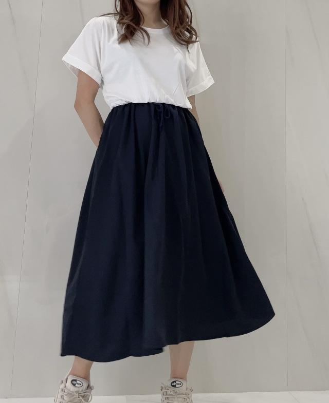 【selva secreta】CASUAL DRESS(white×navy)