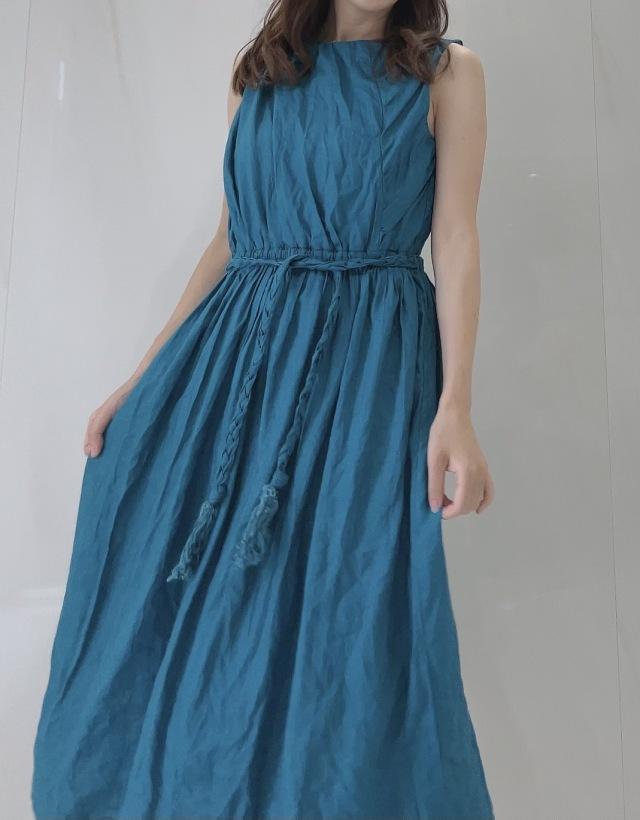【selva secreta】Linen Wrinkled Dress (Turquoise-blue)