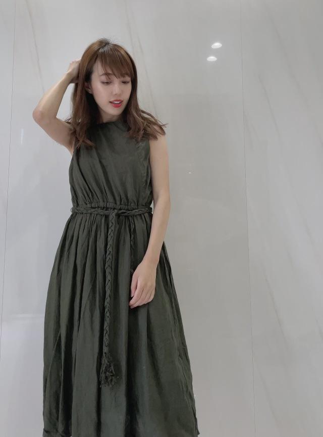 【selva secreta】Linen Wrinkled Dress (Kahki)