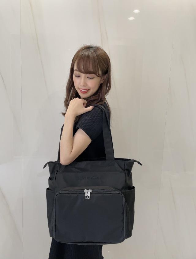 【selva secreta】Compact MOM TOTE BAG(black×black logo)