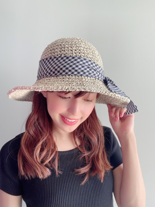 【selva secreta】RIBBON HAT(check-ribbon×white-beige)