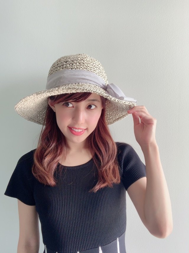 【selva secreta】RIBBON HAT(white-beige×chiffon-gray ribbon)