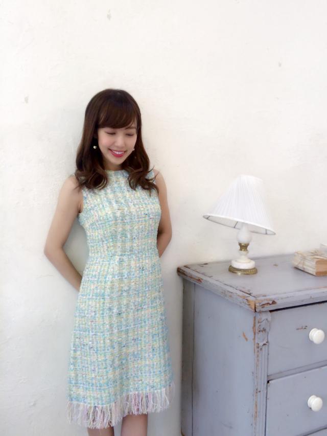 【selva secreta】TWEED FRINGE DRESS(FRENCH-BLUE)