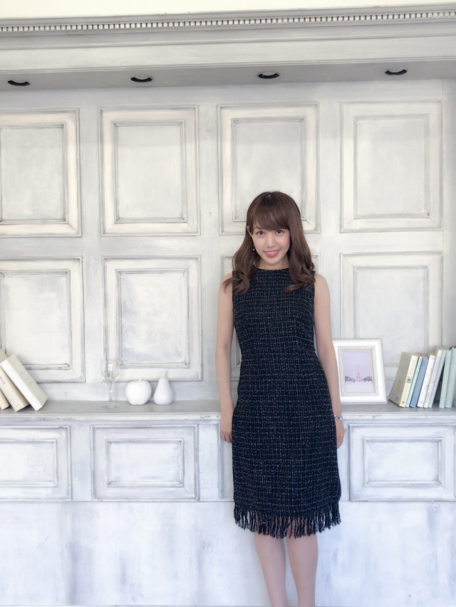 【selva secreta】TWEED FRINGE DRESS(BLACK)