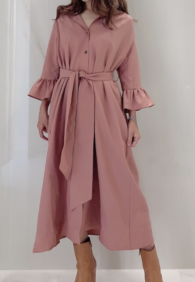 【selva secreta】SHIRTS DRESS(pink-beige)