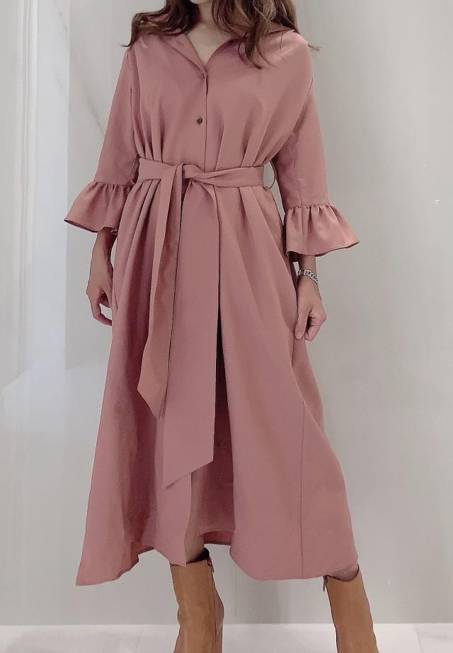 【selva secreta】SHIRTS DRESS(pink-beige)