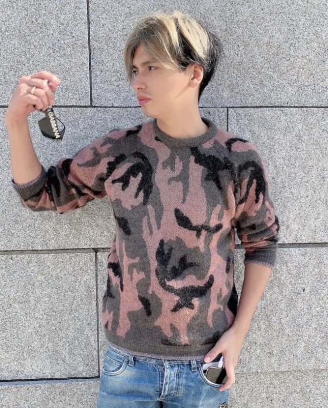 【selva secreta】MEN'S CAMOFLAGE KNIT(pink)