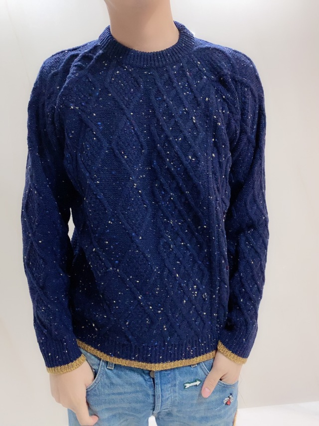 【selva secreta】MEN'S WOOL KNIT(night sky blue)
