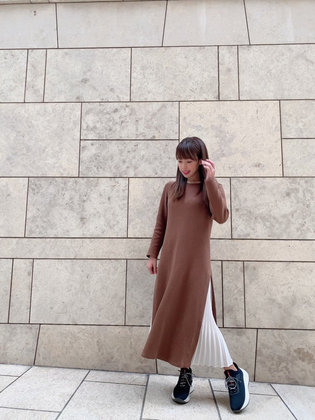 【selva secreta】Side Pleats DRESS(brown)
