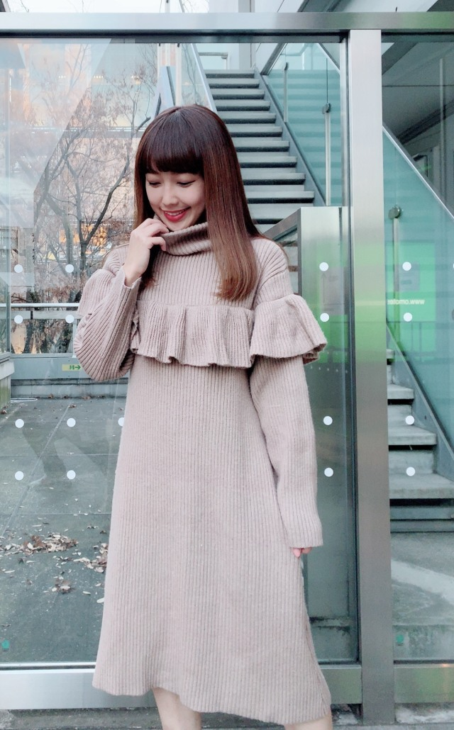 【selva secreta】FRILL KNIT DRESS(beige)