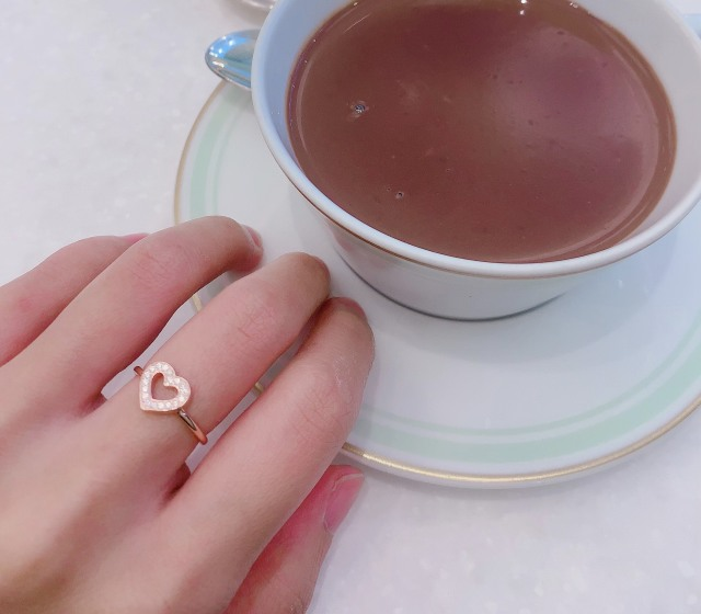 【selva secreta】Heart Shape Ring(pink-gold-color)