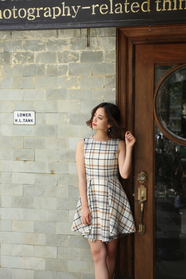 【selva secreta】WOOL CHECK DRESS(white)