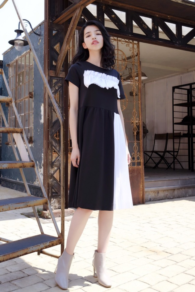 【selva secreta】POINTE DENIM DRESS (black)