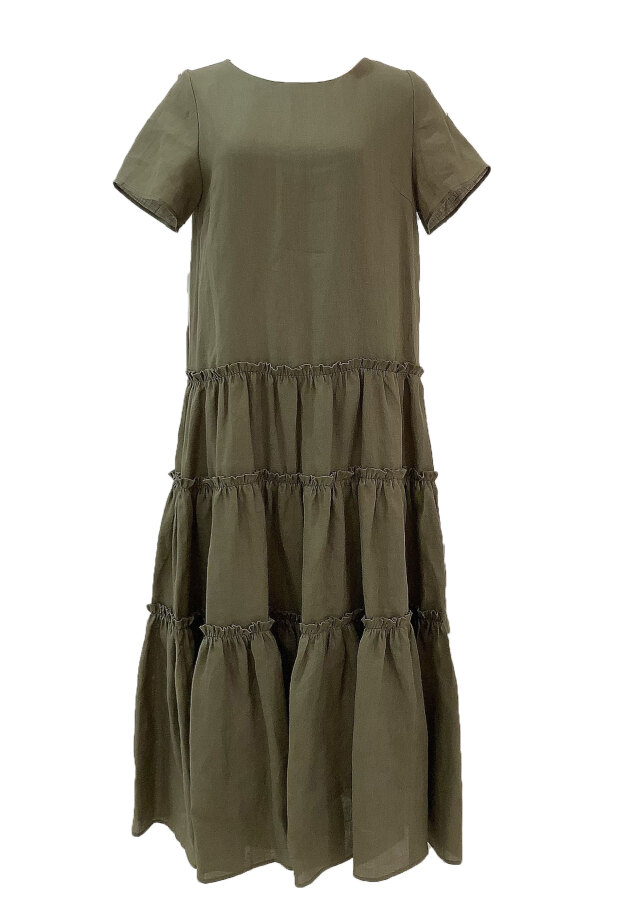 【selva secreta】LINEN DRESS(khaki)