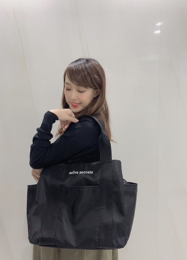 【selva secreta】3-layer TOTE BAG(black×white logo)(BIG-size)